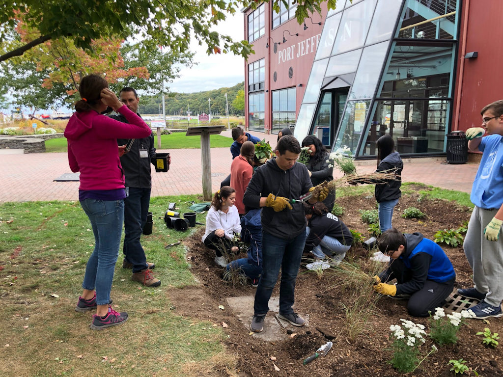 Photos of planting of Village Center Rain Garden with the PJ High School Environmental Club and their teacher Mr. Maletta. Photo credit Kyle Cook