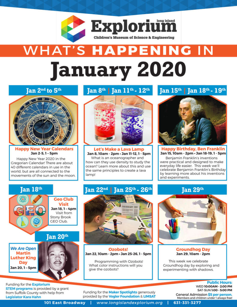 January Events flyer. Visit Events seciton for text.