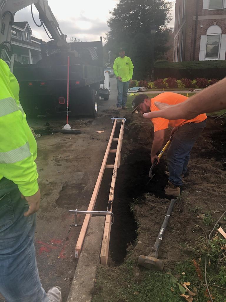 Pouring new concrete.