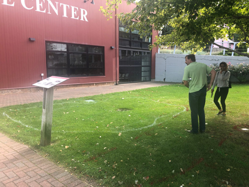 Sizing and mapping the Village Center rain garden.