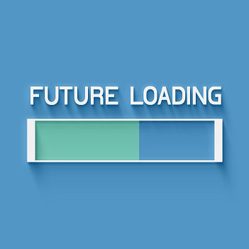 Future loading 3d blue background